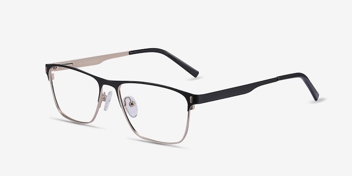 Media Black Metal Eyeglass Frames from EyeBuyDirect, Angle View