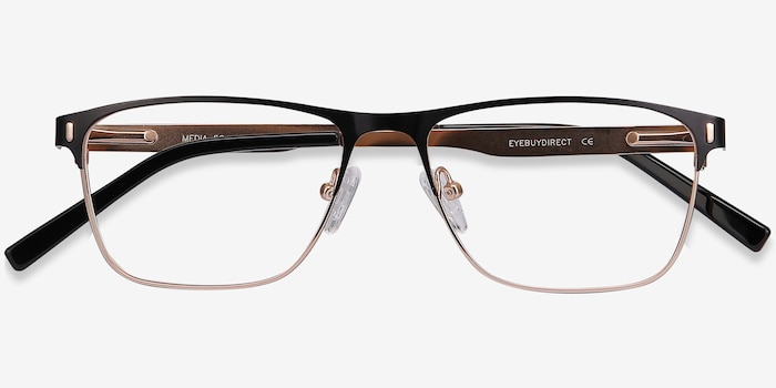 Media Black Metal Eyeglass Frames from EyeBuyDirect, Closed View
