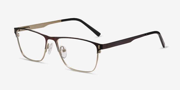 Media Brown Metal Eyeglass Frames from EyeBuyDirect, Angle View