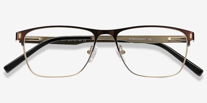 Media Brown Metal Eyeglass Frames from EyeBuyDirect, Closed View
