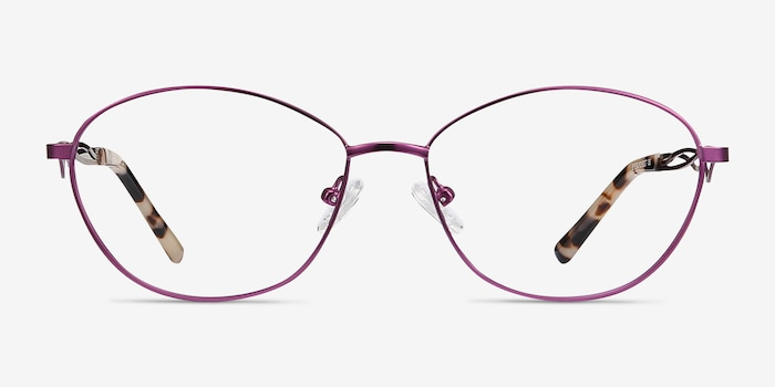 Helix Purple Metal Eyeglass Frames from EyeBuyDirect, Front View