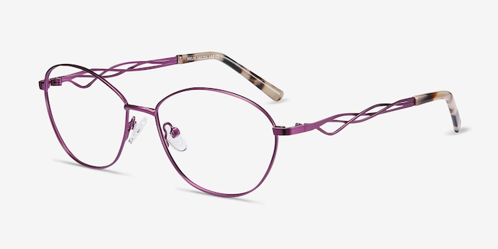 Helix Purple Metal Eyeglass Frames from EyeBuyDirect, Angle View