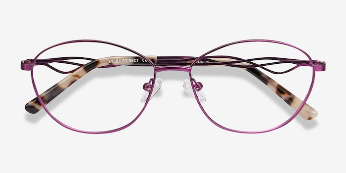 Helix Purple Metal Eyeglass Frames from EyeBuyDirect, Closed View