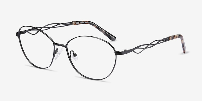 Helix Black Metal Eyeglass Frames from EyeBuyDirect, Angle View