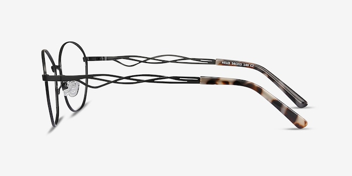 Helix Black Metal Eyeglass Frames from EyeBuyDirect, Side View