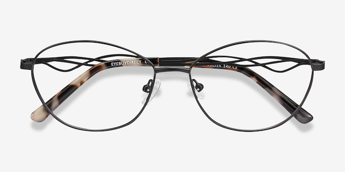 Helix Black Metal Eyeglass Frames from EyeBuyDirect, Closed View