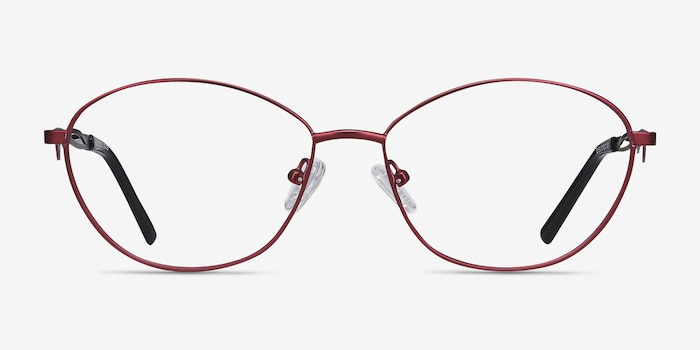 Helix Red Metal Eyeglass Frames from EyeBuyDirect, Front View