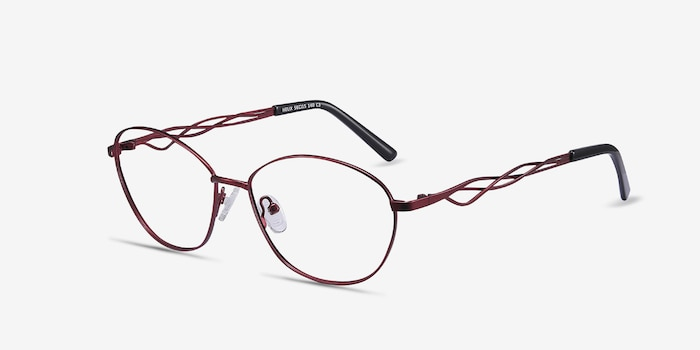 Helix Red Metal Eyeglass Frames from EyeBuyDirect, Angle View