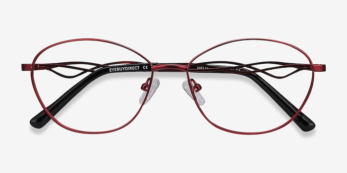 Helix Red Metal Eyeglass Frames from EyeBuyDirect, Closed View