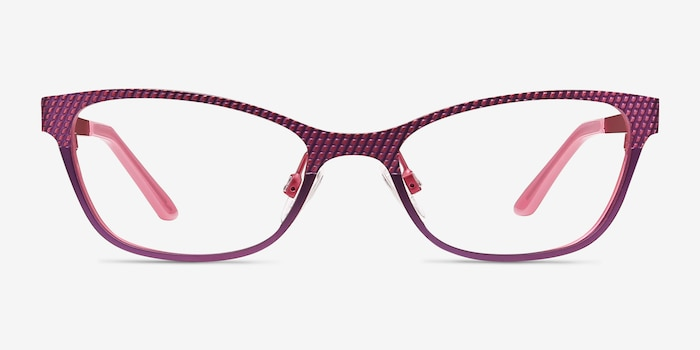 MARDI GRAS Pink Metal Eyeglass Frames from EyeBuyDirect, Front View