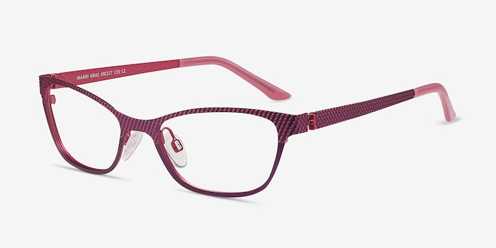 MARDI GRAS Pink Metal Eyeglass Frames from EyeBuyDirect, Angle View