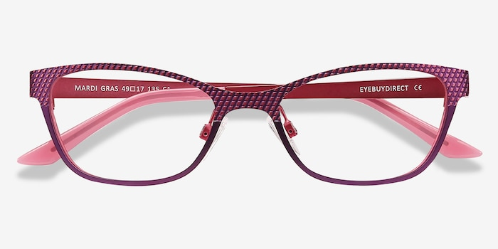 MARDI GRAS Pink Metal Eyeglass Frames from EyeBuyDirect, Closed View