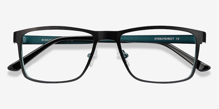 Bemuse Black Metal Eyeglass Frames from EyeBuyDirect, Closed View