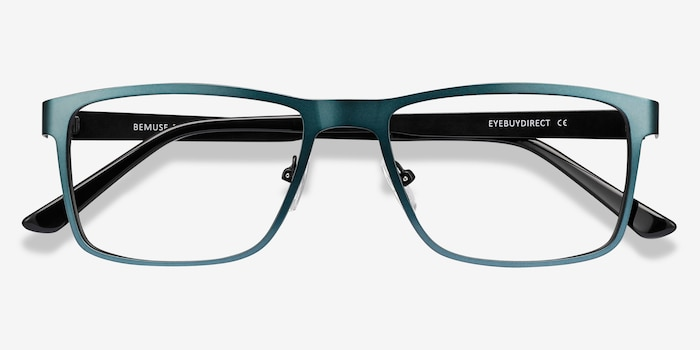 Bemuse Green  Metal Eyeglass Frames from EyeBuyDirect, Closed View