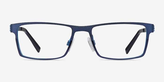 Soon Blue Metal Eyeglass Frames from EyeBuyDirect, Front View