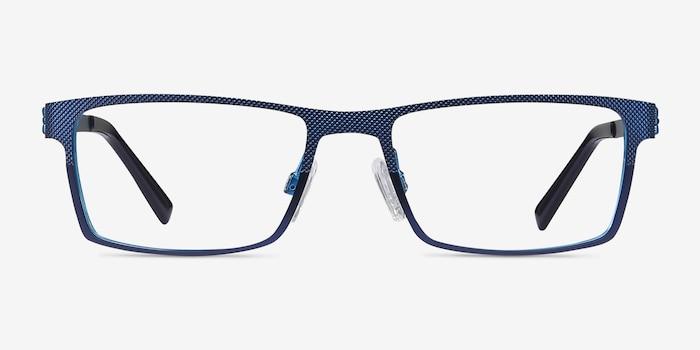 Soon Bleu Métal Montures de Lunettes d'EyeBuyDirect, Vue de Face