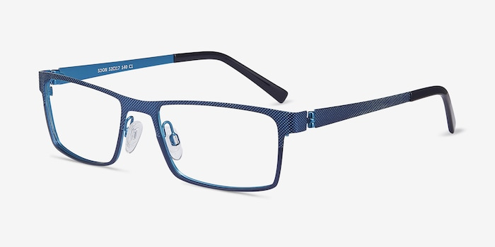 Soon Blue Metal Eyeglass Frames from EyeBuyDirect, Angle View