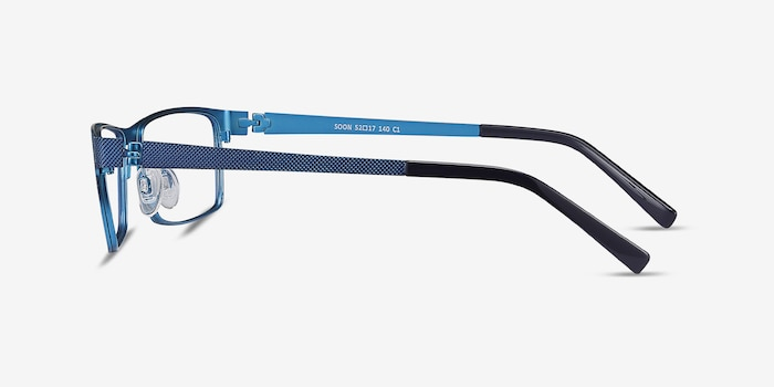 Soon Blue Metal Eyeglass Frames from EyeBuyDirect, Side View
