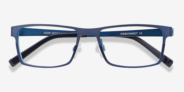 Soon Blue Metal Eyeglass Frames from EyeBuyDirect, Closed View