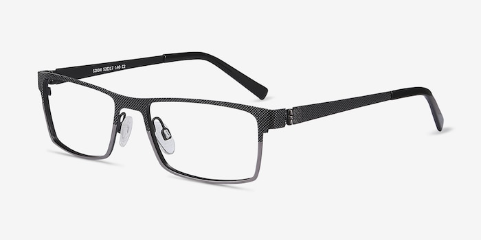 Soon Gray Metal Eyeglass Frames from EyeBuyDirect, Angle View