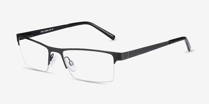Vine Black Metal Eyeglass Frames from EyeBuyDirect, Angle View