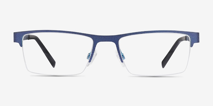Vine Blue Metal Eyeglass Frames from EyeBuyDirect, Front View