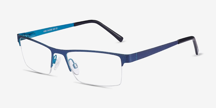Vine Blue Metal Eyeglass Frames from EyeBuyDirect, Angle View