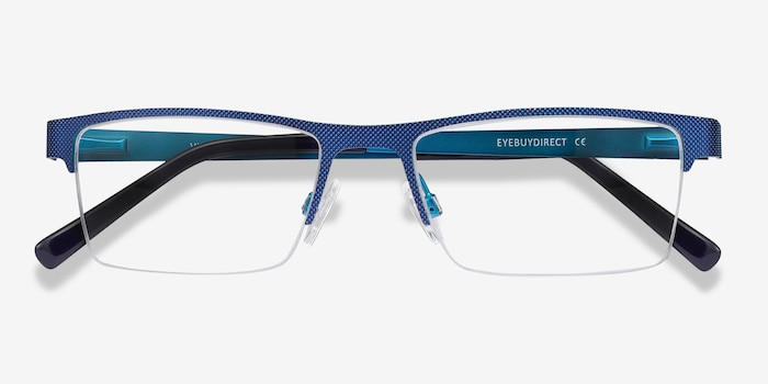 Vine Blue Metal Eyeglass Frames from EyeBuyDirect, Closed View