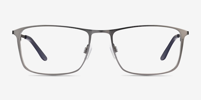 Daytona Gunmetal Metal Eyeglass Frames from EyeBuyDirect, Front View