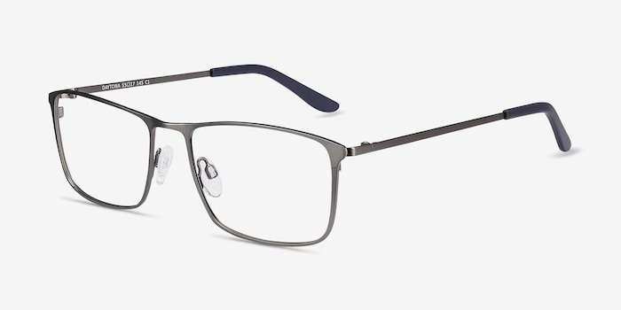 Daytona Gunmetal Metal Eyeglass Frames from EyeBuyDirect, Angle View
