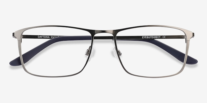 Daytona Gunmetal Metal Eyeglass Frames from EyeBuyDirect, Closed View