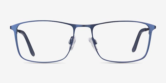 Daytona Blue Metal Eyeglass Frames from EyeBuyDirect, Front View