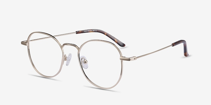 Cori Golden Metal Eyeglass Frames from EyeBuyDirect, Angle View