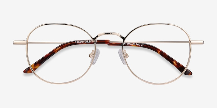 Cori Golden Metal Eyeglass Frames from EyeBuyDirect, Closed View