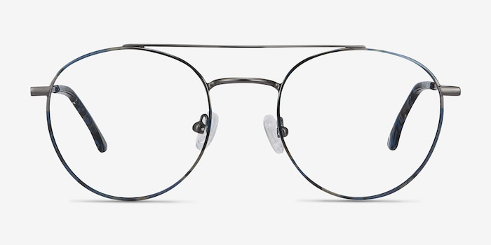 Earhart Blue Tortoise Metal Eyeglass Frames from EyeBuyDirect, Front View