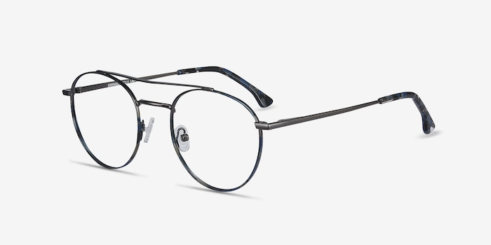 Earhart Blue Tortoise Metal Eyeglass Frames from EyeBuyDirect, Angle View