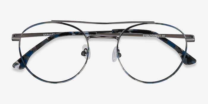 Earhart Blue Tortoise Metal Eyeglass Frames from EyeBuyDirect, Closed View
