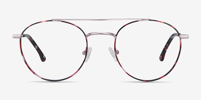 Earhart Red Tortoise Metal Eyeglass Frames from EyeBuyDirect, Front View