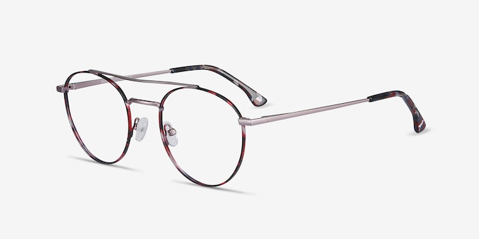 Earhart Red Tortoise Metal Eyeglass Frames from EyeBuyDirect, Angle View