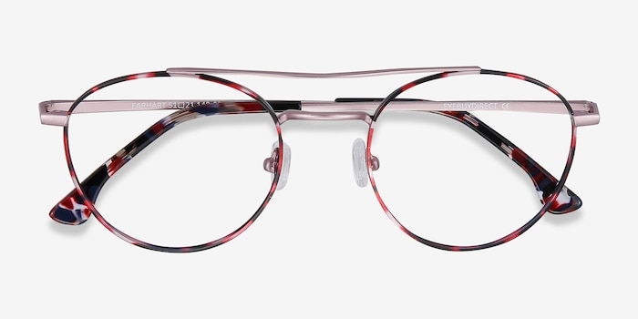 Earhart Red Tortoise Metal Eyeglass Frames from EyeBuyDirect, Closed View
