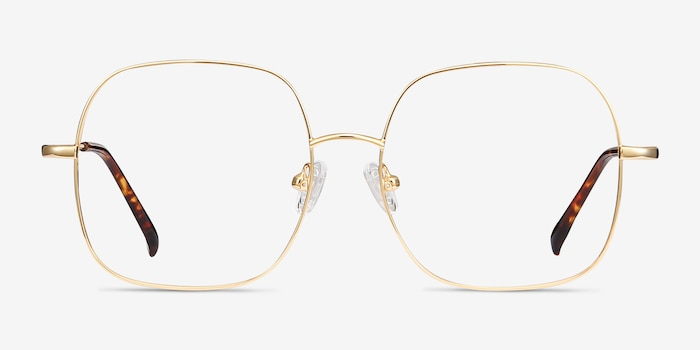 Movement Golden Metal Eyeglass Frames from EyeBuyDirect, Front View