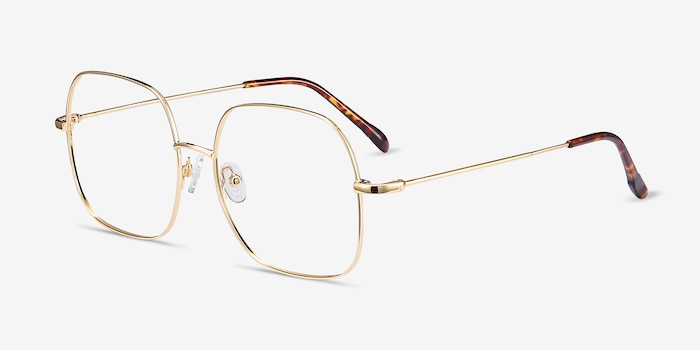 Movement Golden Metal Eyeglass Frames from EyeBuyDirect, Angle View