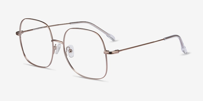 Movement Rose Gold Metal Eyeglass Frames from EyeBuyDirect, Angle View