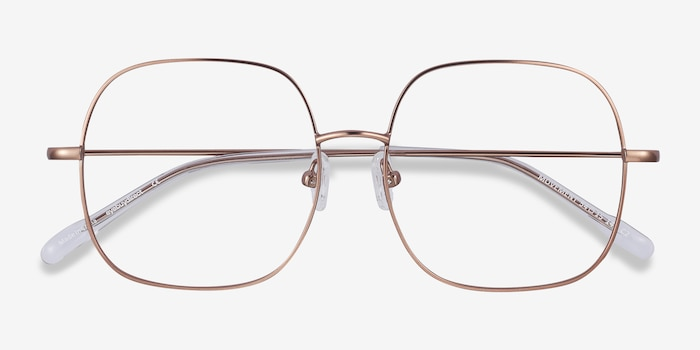 Movement Rose Golden Metal Eyeglass Frames from EyeBuyDirect, Closed View