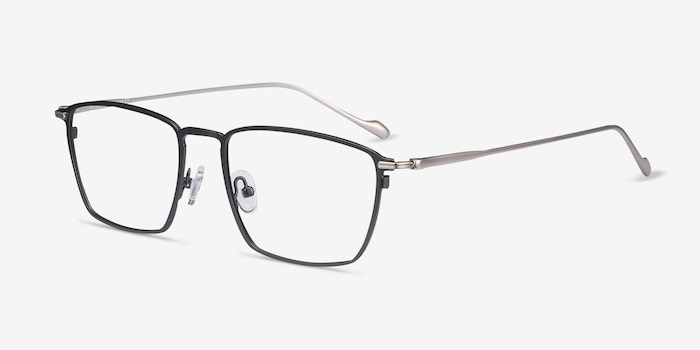 Wind Gunmetal Metal Eyeglass Frames from EyeBuyDirect, Angle View