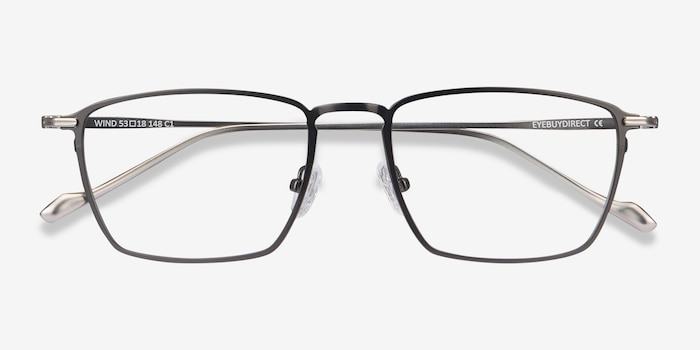 Wind Gunmetal Metal Eyeglass Frames from EyeBuyDirect, Closed View