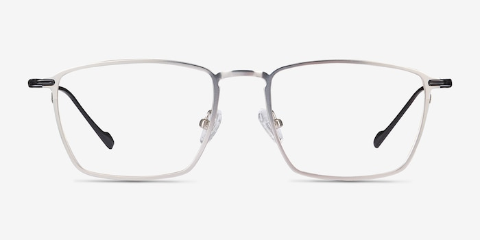Wind Silver Metal Eyeglass Frames from EyeBuyDirect, Front View