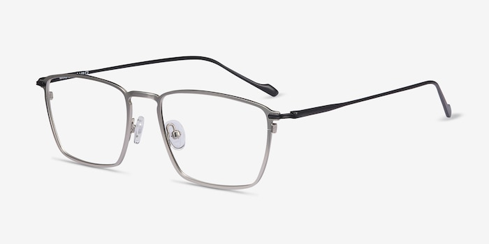 Wind Silver Metal Eyeglass Frames from EyeBuyDirect, Angle View