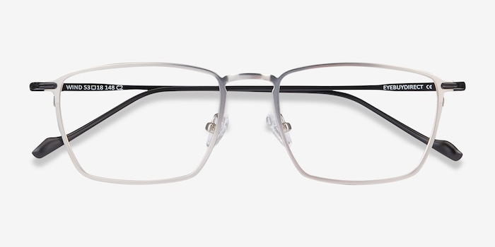Wind Silver Metal Eyeglass Frames from EyeBuyDirect, Closed View