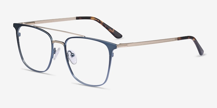 Contact Blue Metal Eyeglass Frames from EyeBuyDirect, Angle View